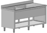 Мивка с 2 умивални басейна с работен плот и странични панели